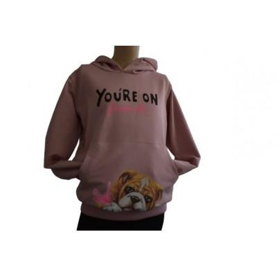 Bluza dziewczęca kangur z kapturem Pies Buldog